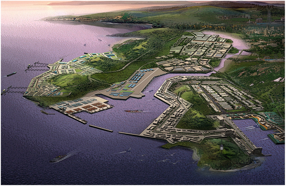 大连长兴岛经济区位于辽东半岛西侧中部,渤海东岸