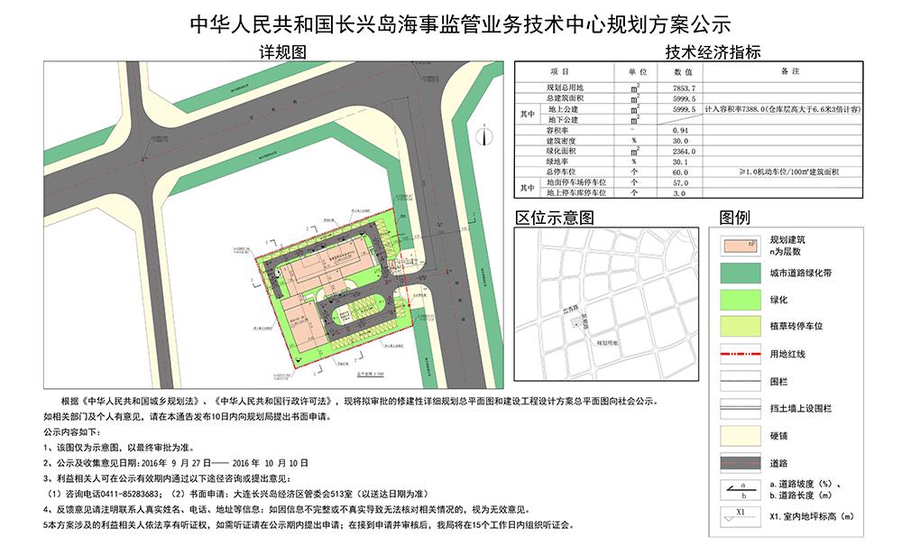 根据《中华人民共和国城乡规划法》、《中华人民共和国行政许可法》,现将拟审批的修建性详细规划总平面图和建设工程设计方案总平面图向社会公示。如相关部门及个人有意见,请在本通告发布10日内向规划局提出书面申请。   公示内容如下:   1、该图仅为示意图,以最终审批为准。   2、公示及收集意见日期:2016年9月27日2016年10月10日   3、利益相关人可在公示有效期内通过以下途径咨询或提出意见:   咨询电话:0411-85283683;书面申请:大连长兴岛经济区管委会513室(以送达日期为准